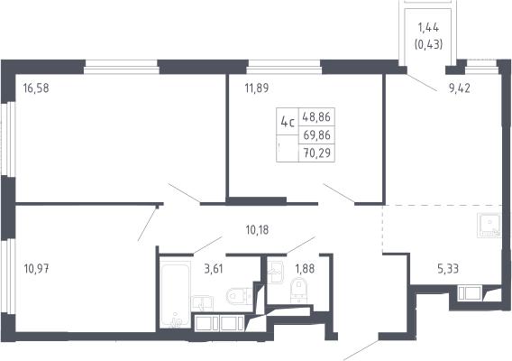 4Е-к.кв, 70.29 м²