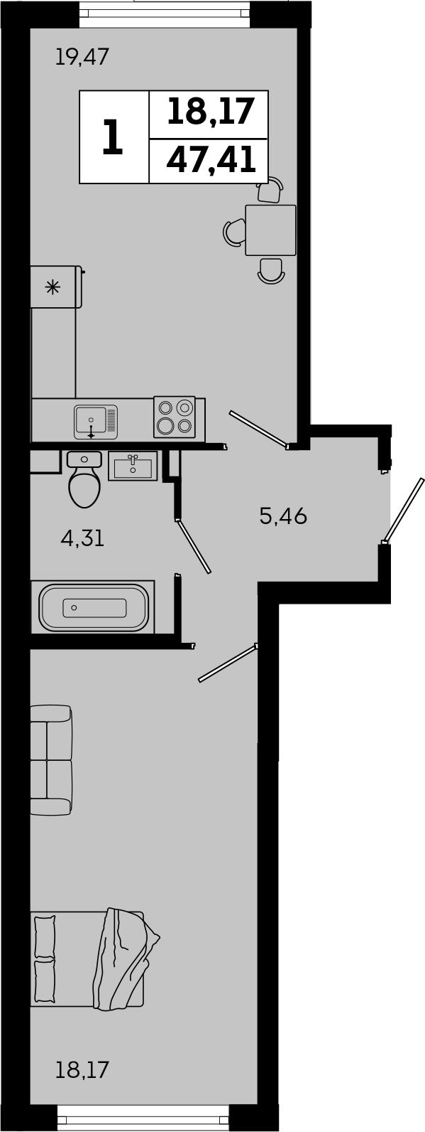 2-к.кв (евро), 47.41 м²