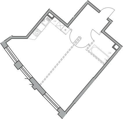 Свободная планировка, 47.57 м²– 2