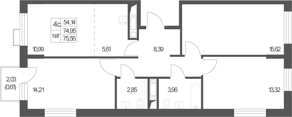 4Е-комнатная, 75.56 м²– 2