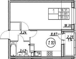 1-к.кв, 35.03 м²