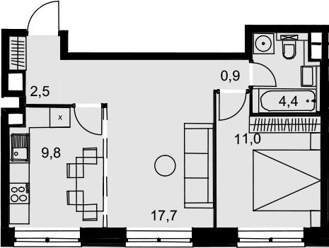 2-комнатная, 46.3 м²– 2