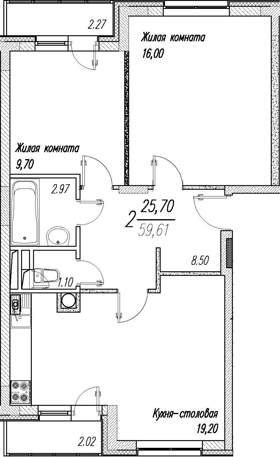 3-к.кв (евро), 61.75 м²