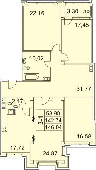 4-к.кв, 146.04 м²
