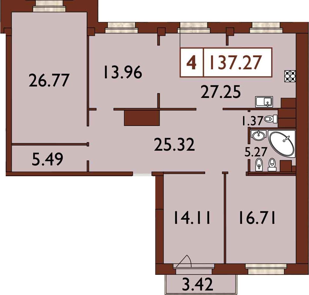 5-к.кв (евро), 139.66 м²