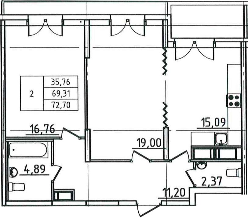 2-к.кв, 72.7 м²