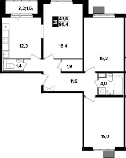 3-комнатная, 80.4 м²– 2