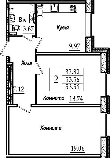 2-к.кв, 53.56 м²