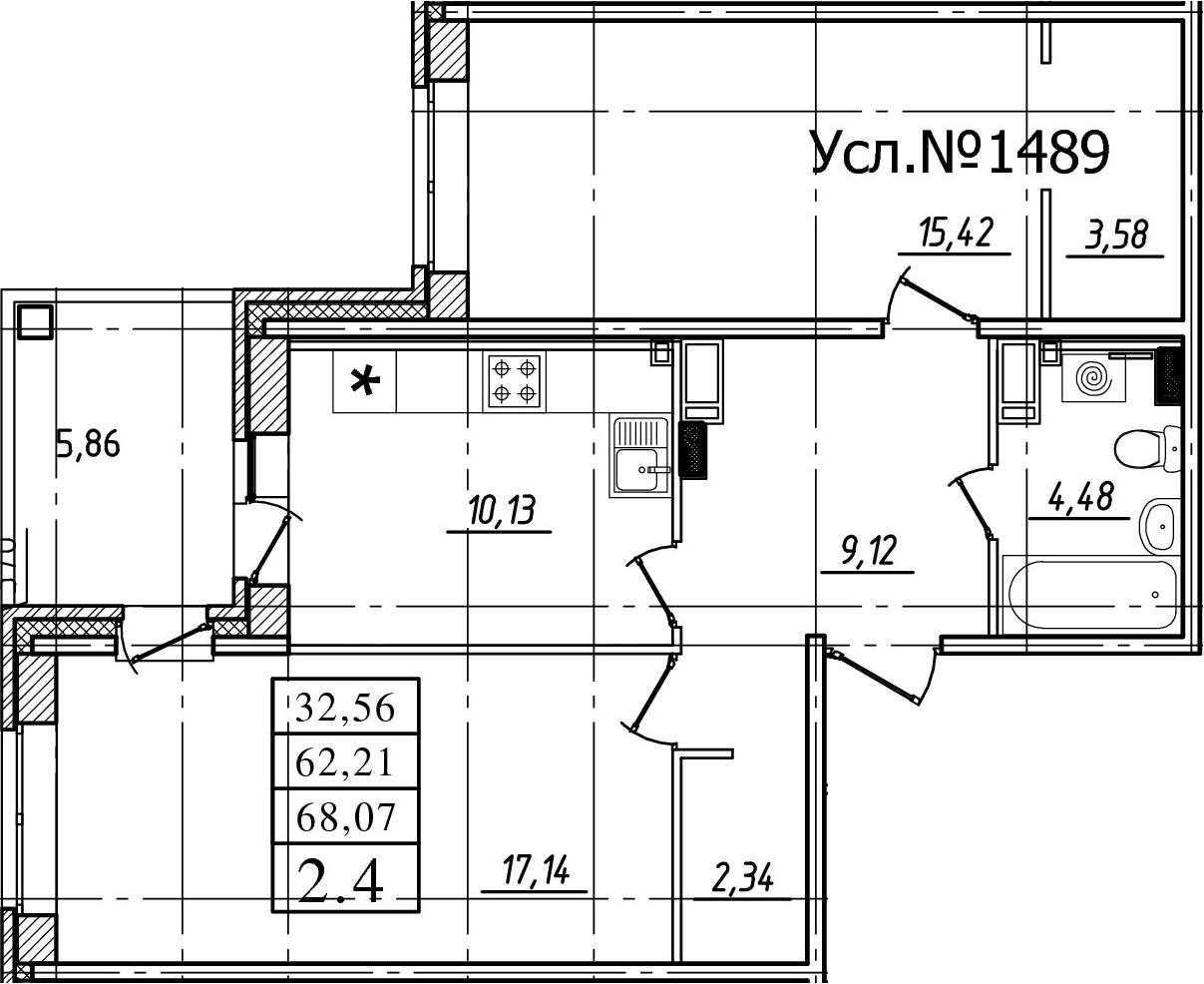 2-комнатная, 62.21 м²– 2
