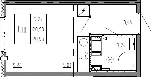 Студия, 20.93 м²– 2