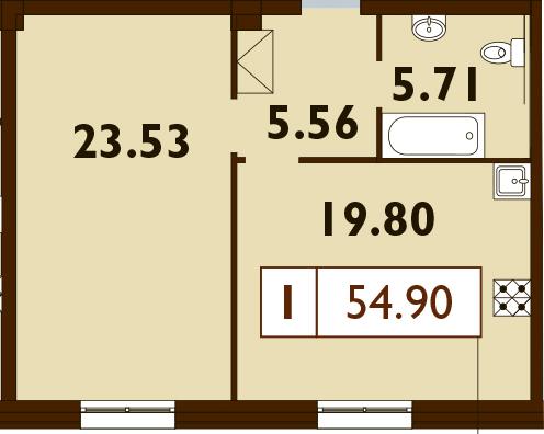 2-к.кв (евро), 54.6 м²