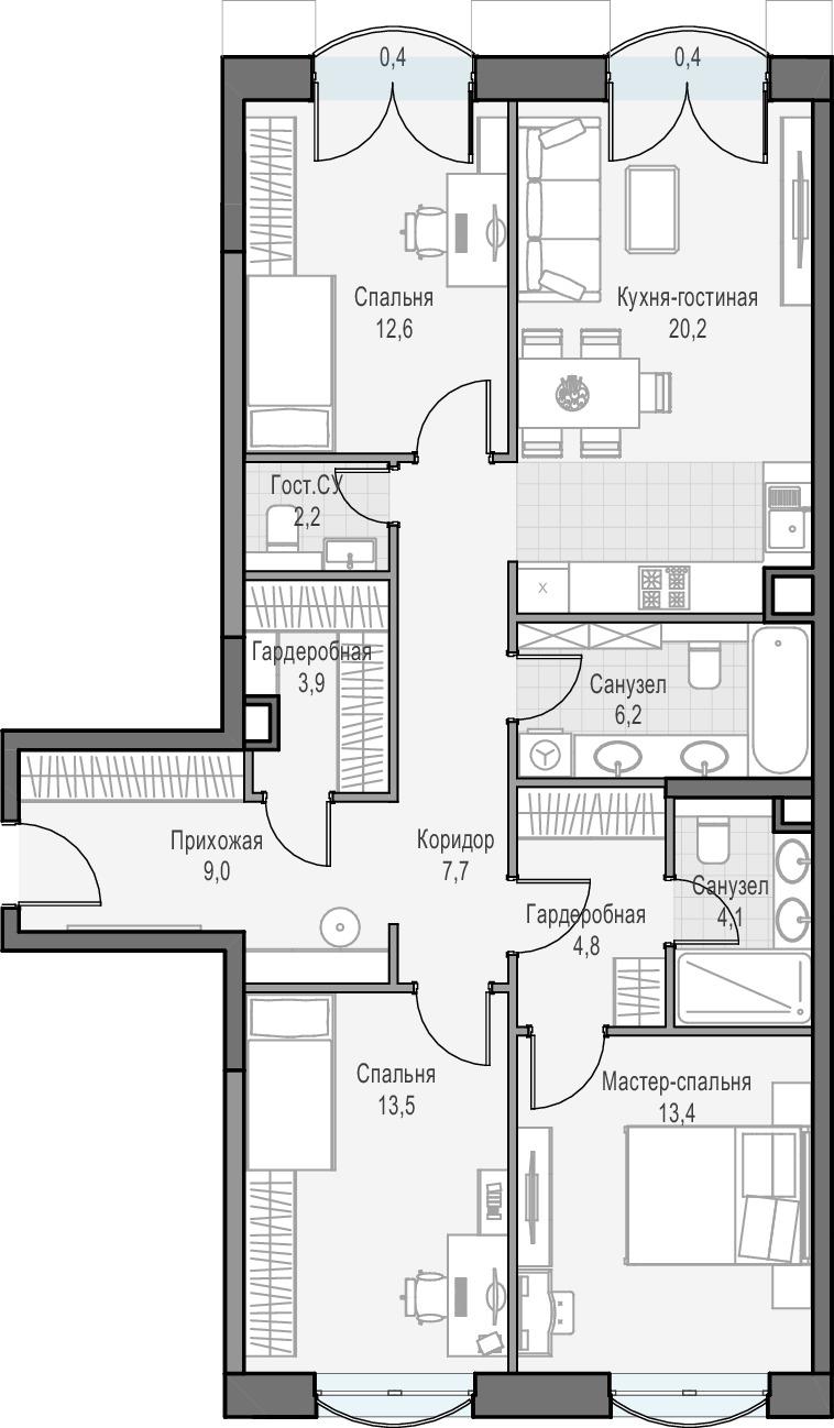 4Е-комнатная, 97.7 м²– 2