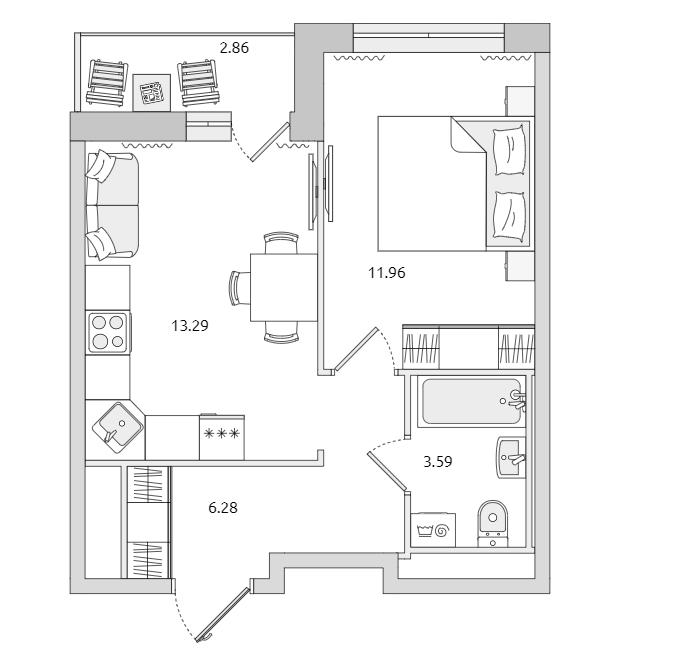 1-комнатная, 36.55 м²– 2