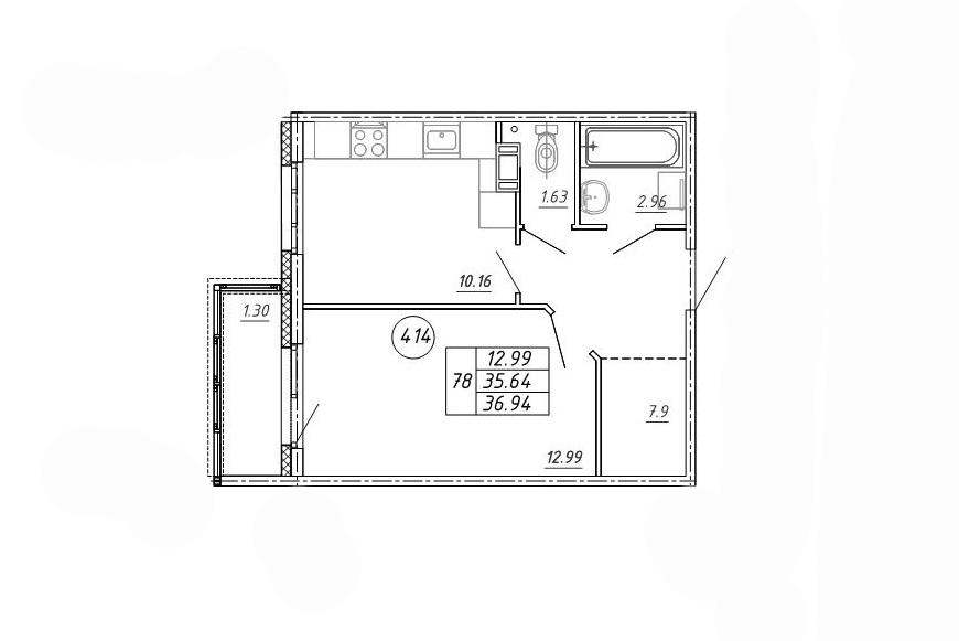 1-к.кв, 36.94 м²