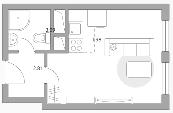 Студия, 23.28 м²