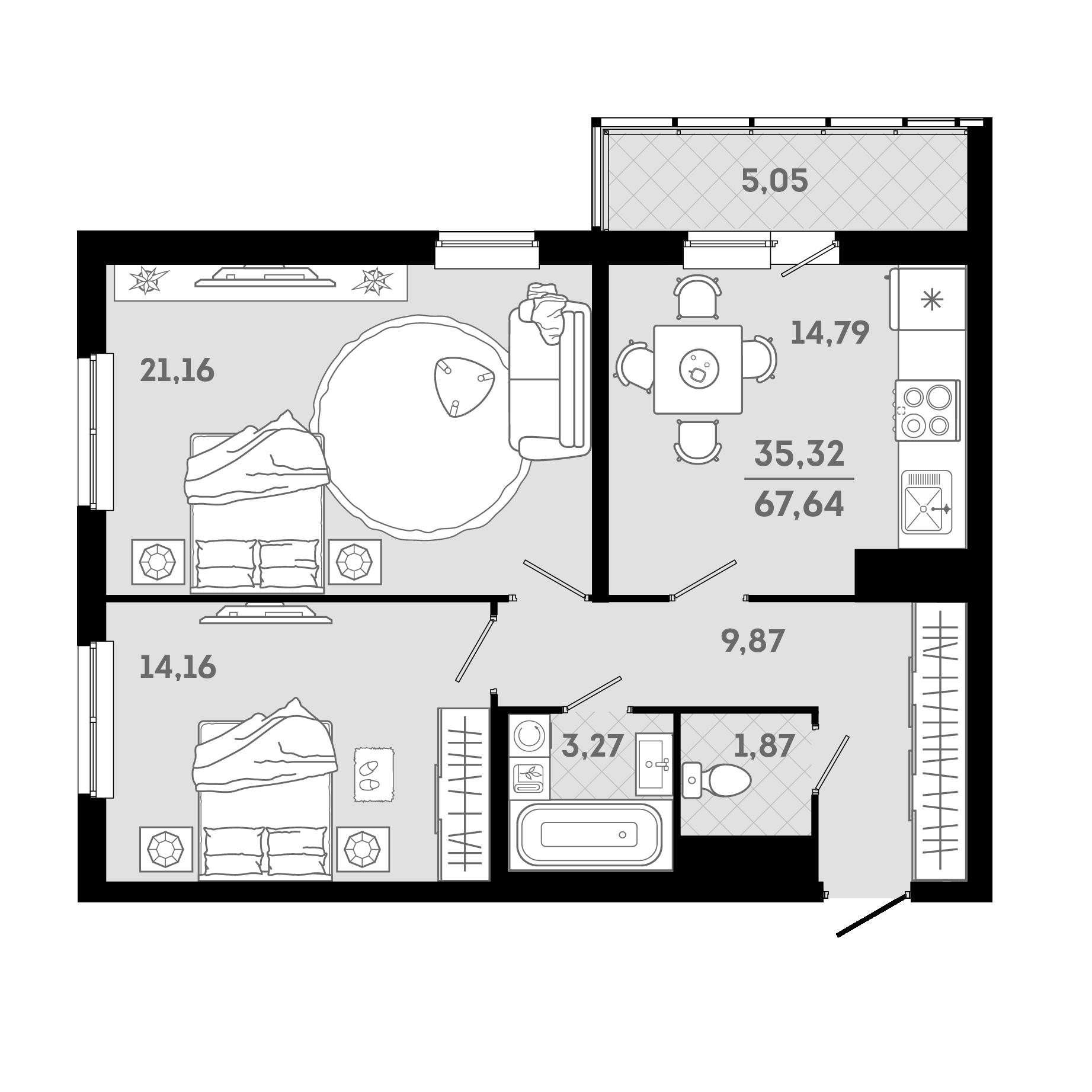 2-комнатная, 67.64 м²– 2
