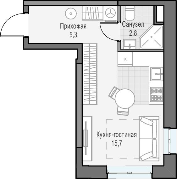 Студия, 23.74 м²