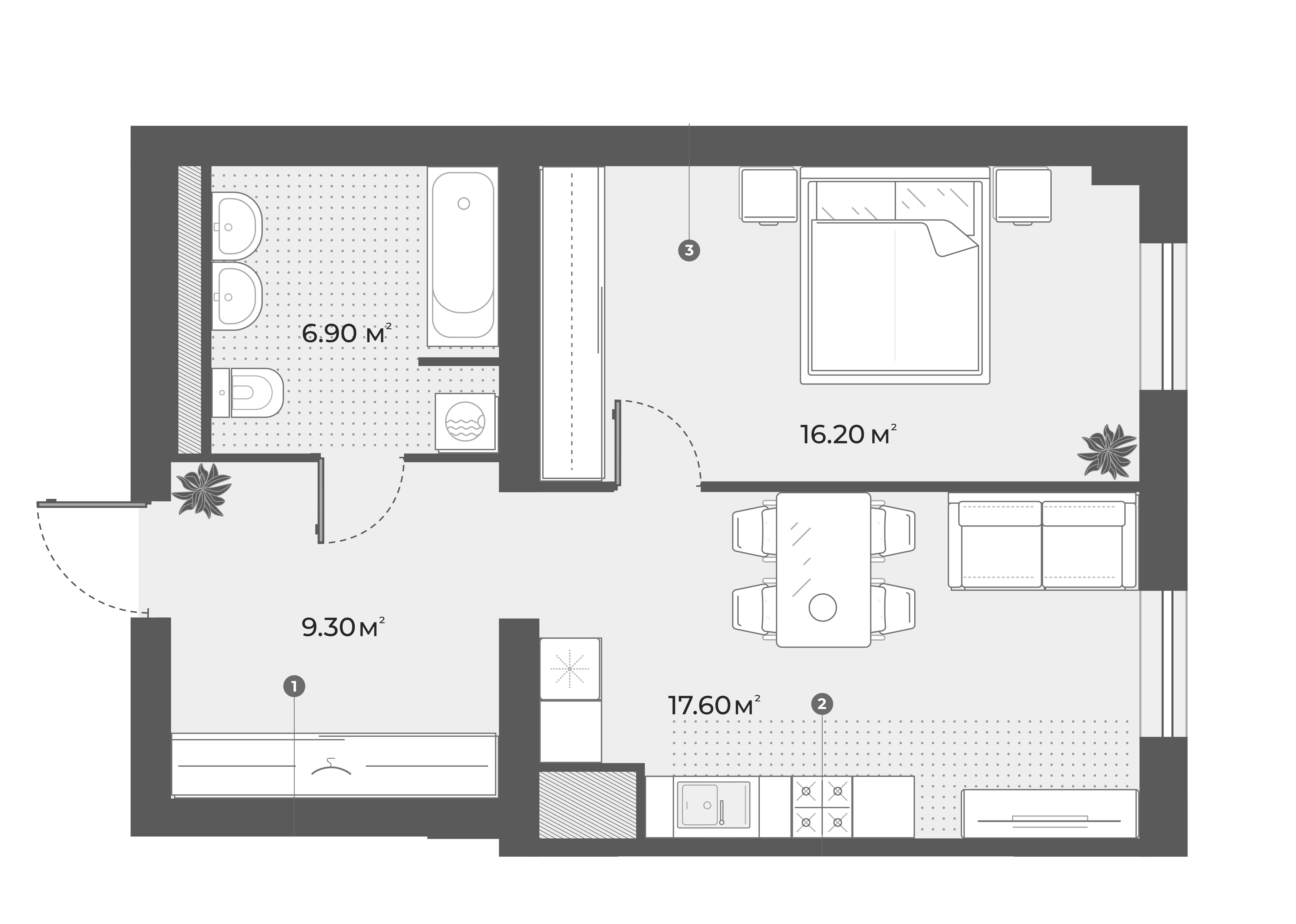 2Е-к.кв, 50 м², 5 этаж
