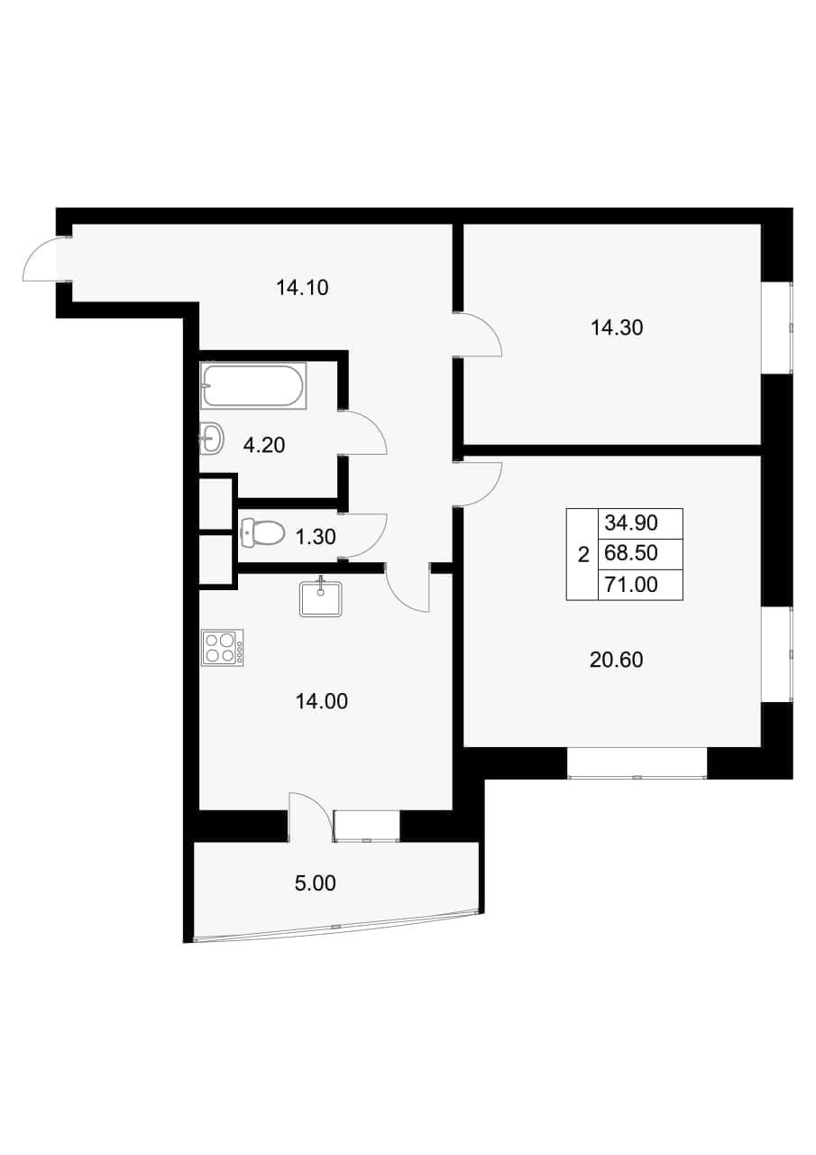 2-комнатная квартира, 68.5 м², 9 этаж – Планировка