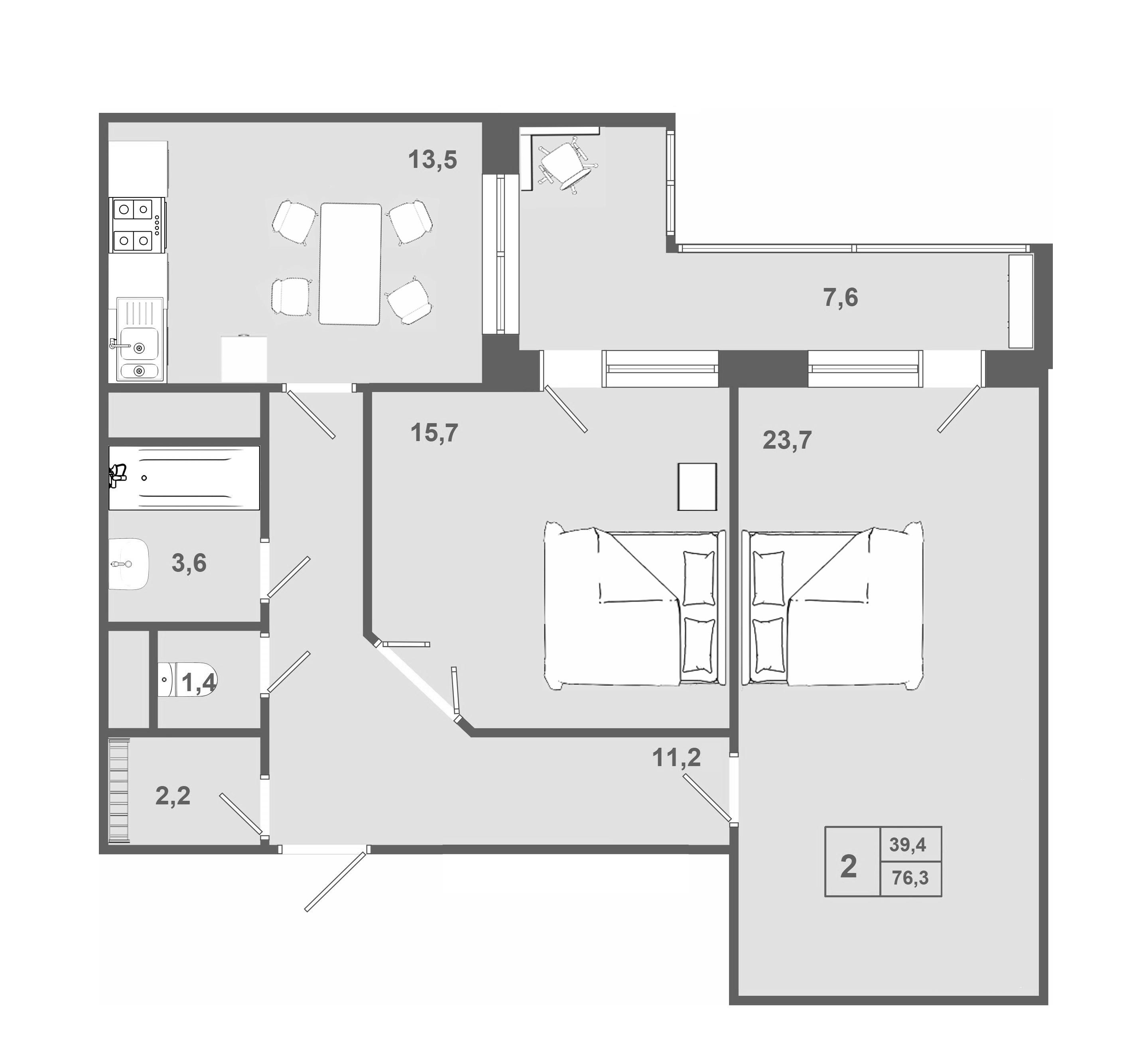 2-комнатная, 76 м²– 2