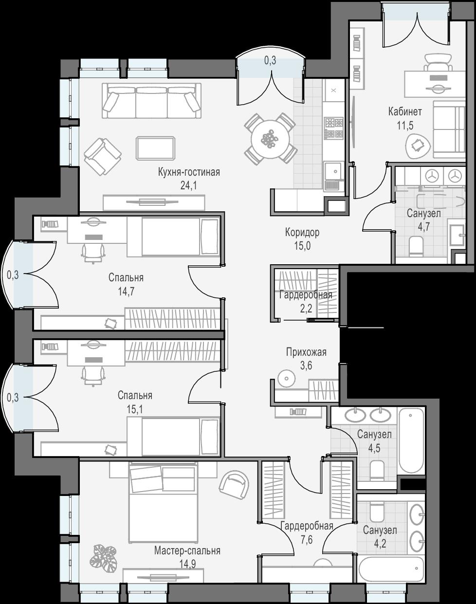 5Е-комнатная, 121.3 м²– 2