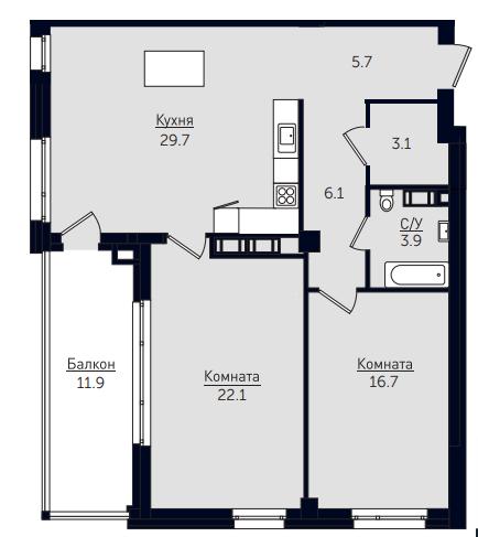 3-к.кв (евро), 99.2 м²