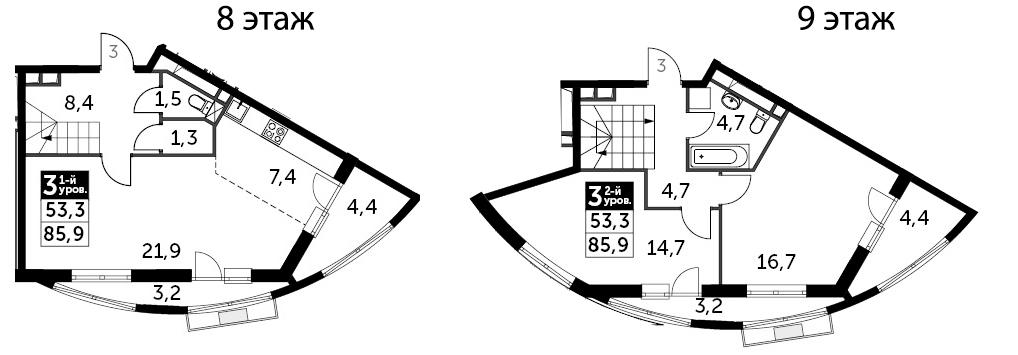 3Е-к.кв, 85.9 м², 8 этаж