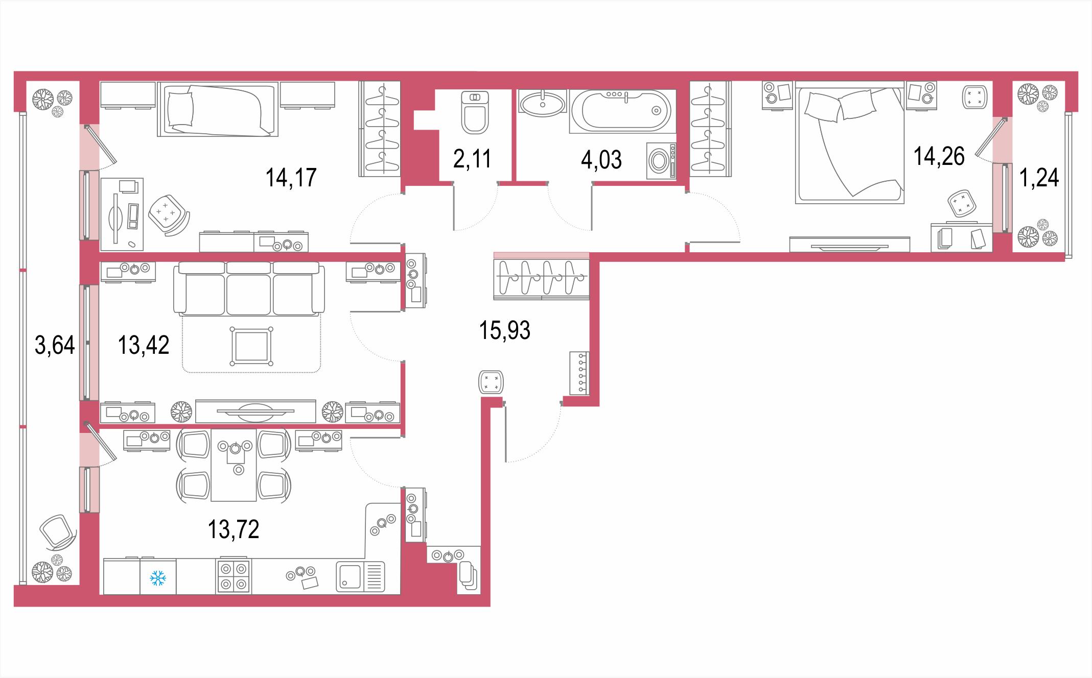 3-комнатная, 82.52 м²– 2