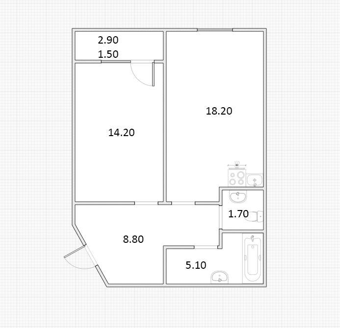 2Е-к.кв, 49.45 м²