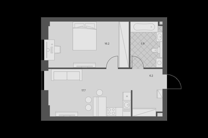 2Е-комнатная, 46 м²– 2