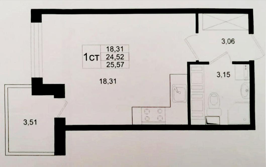Студия, 28.03 м²