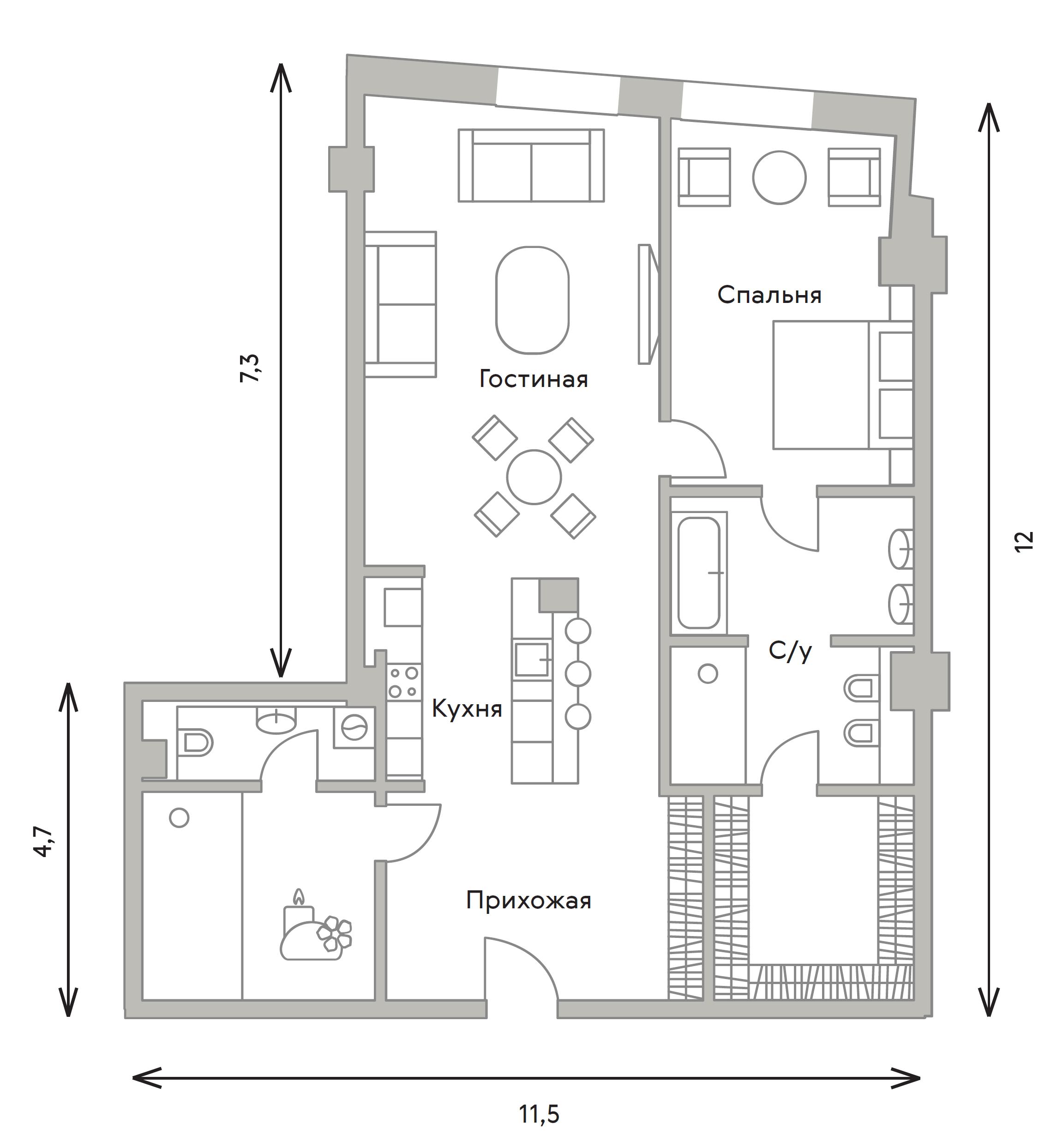 2Е-комнатная, 110.8 м²– 2