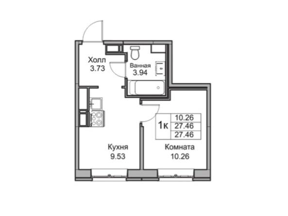 1-комнатная, 27.46 м²– 2