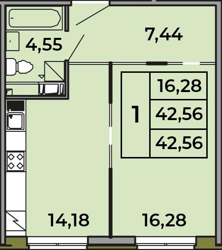 1-комнатная, 42.45 м²– 2