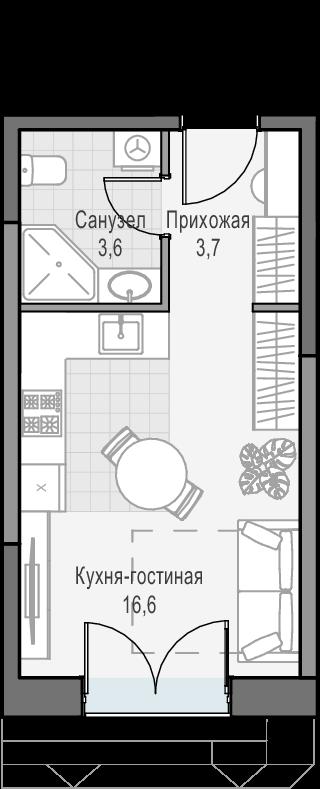 Студия, 23.8 м², 24 этаж