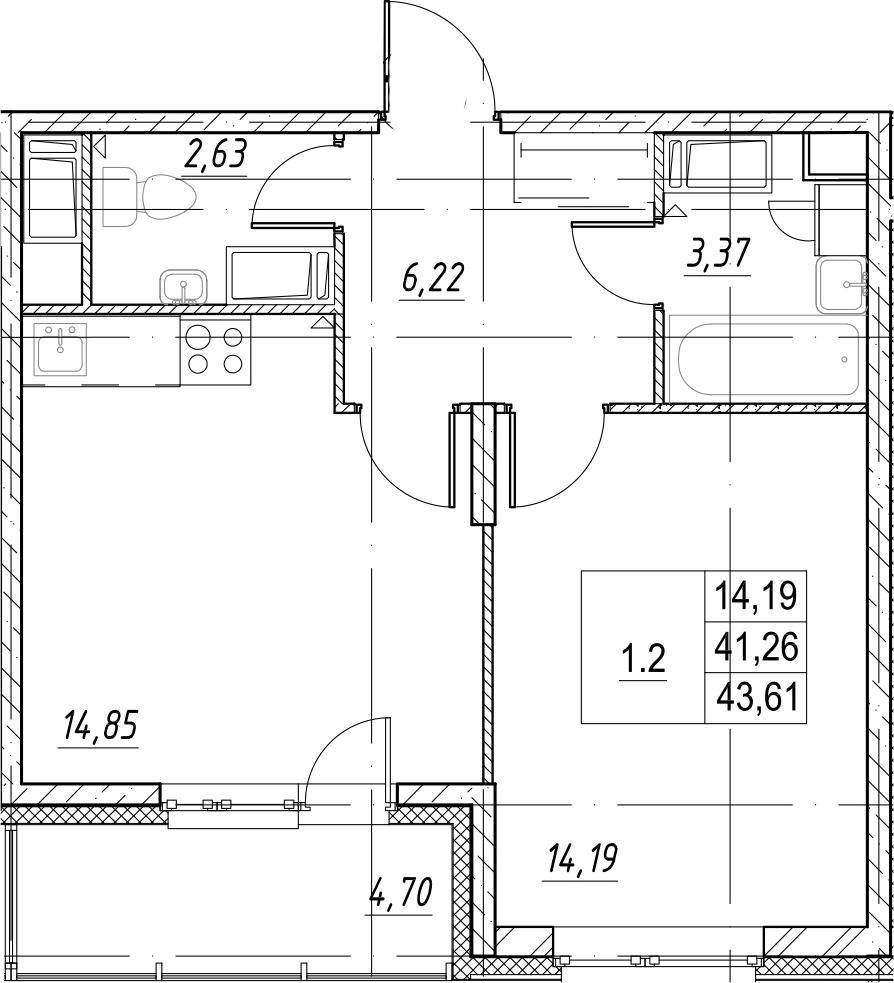 1-комнатная, 43.61 м²– 2