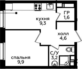 1-комнатная, 28.6 м²– 2
