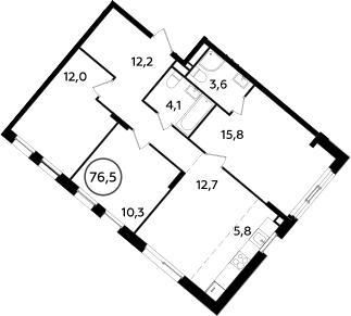 4Е-комнатная, 76.5 м²– 2