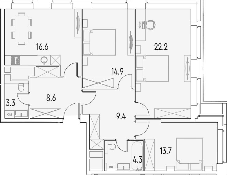 3-к.кв, 93 м²