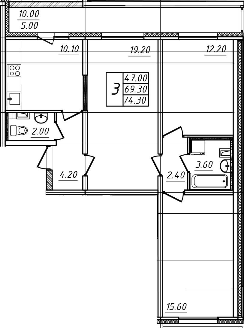 3-к.кв, 74.3 м²
