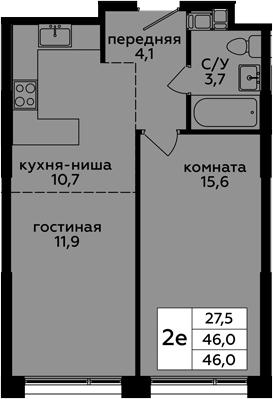 2Е-к.кв, 46 м², от 15 этажа