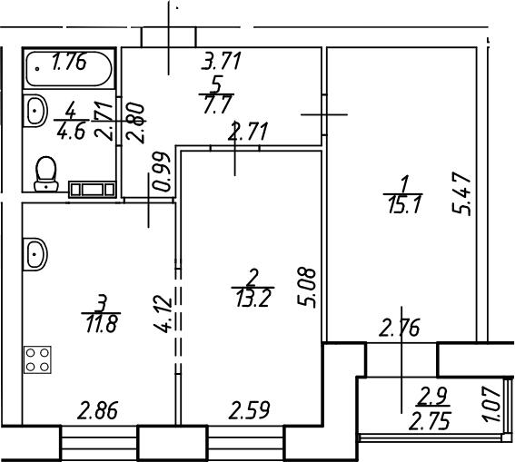 2-комнатная, 53.9 м²– 2