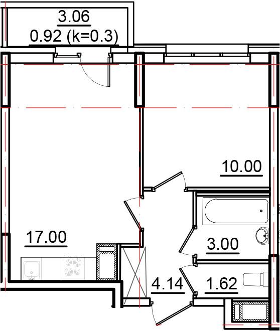 2-к.кв (евро), 38.83 м²