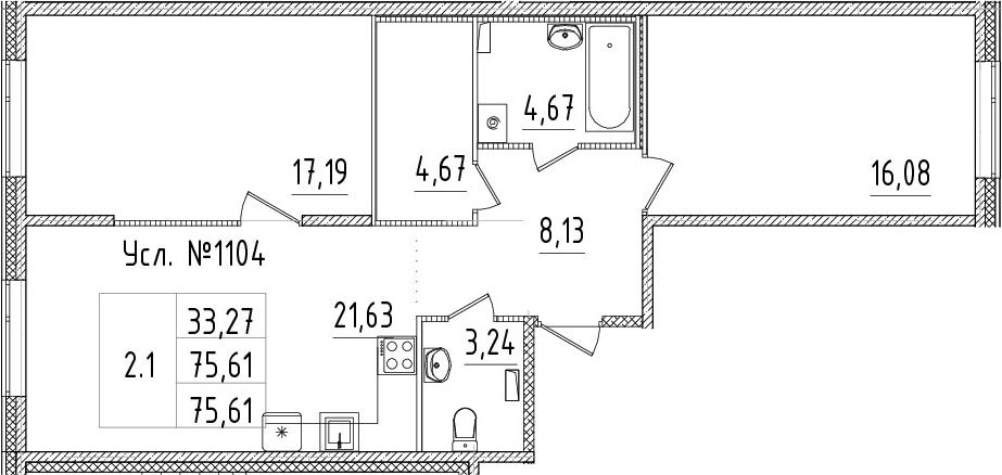 3Е-комнатная, 75.61 м²– 2