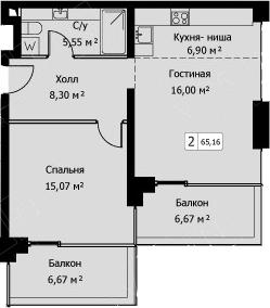 2Е-комнатная, 65.16 м²– 2