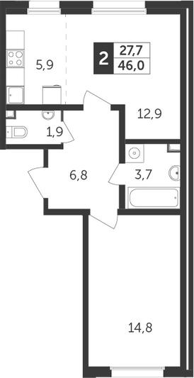 2-к.кв (евро), 46 м²