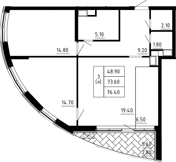 3Е-к.кв, 76.4 м², 5 этаж