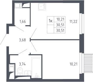 1-комнатная, 30.51 м²– 2