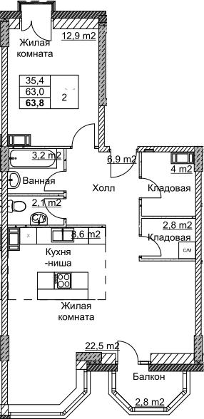 2Е-комнатная, 63.8 м²– 2