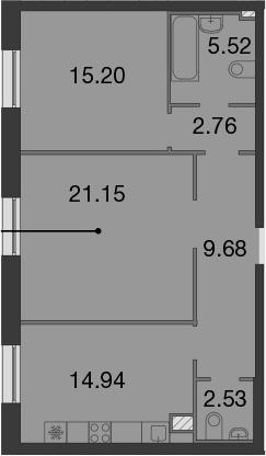 2-к.кв, 71.78 м²